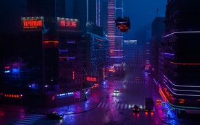 Картинка Ночь, Город, Улица, Стиль, Машины, Здания, Style, Фантастика, Neon, Рендеринг, Illustration, Транспорт, Cyber, Cyberpunk, Synth, …