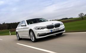 Картинка поле, белый, небо, BMW, седан, гибрид, 5er, четырёхдверный, 2017, 5-series, G30, 530e iPerformance