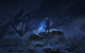 Обои дракон, арт, сериал, Game Of Thrones, The Night King