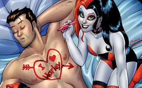 Картинка girl, fantasy, heart, man, comics, bed, artwork, superhero, fantasy art, drawing, sleeping, DC Comics, sheets, ...