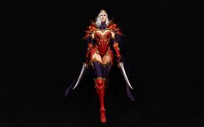 Картинка Girl, Fantasy, Art, Style, Background, Illustration, Armor, Figure, Character, Daggers, Maxi Hoy, Red Assassin
