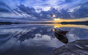 Обои закат, озеро, лодка, Финляндия