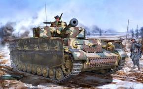 Картинка Солдаты, Танк, Вермахт, Pz. IV, Танкист, Pz.Kpfw.IV Ausf.J