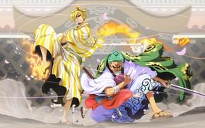 Картинка One Piece, anime, asian, manga, kimono, oriental, asiatic, sugoi, Zoro, Sanji, japonese, OToko, O-Toko, Toko