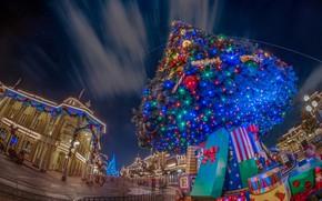 Картинка город, креатив, Рождество, Новый год, ёлка