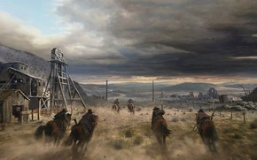 Картинка Ковбой, Лошади, Погоня, Кони, Дикий Запад, Пейзаж, Landscape, Mine, Horses, West, Cowboy, Wild West, Галоп, …