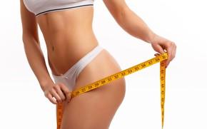 Картинка woman, fitness, tape measure, measures, healthy life