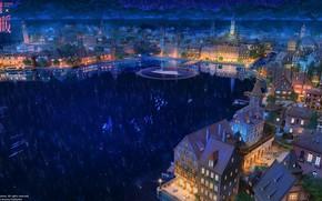 Картинка ночь, город, озеро, аниме