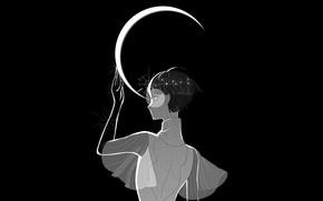Картинка девушка, месяц, чёрный фон, Houseki no Kuni, Страна Самоцветов, Phosphophyllite, Фосфофиллит