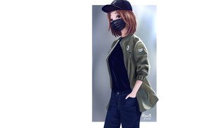 Картинка девушка, джинсы, куртка, белый фон, бейсболка, медицинская маска, by dante rh