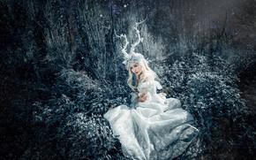 Картинка трава, взгляд, листья, девушка, свет, ночь, ветки, природа, лицо, поза, стиль, дерево, заросли, руки, фея, …