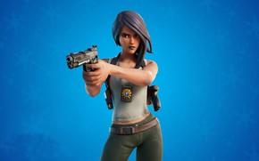 Картинка девушка, снежинки, пистолет, фон, Fortnite