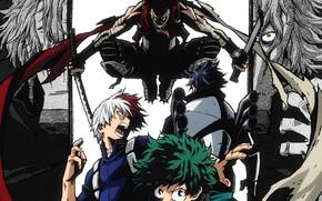 Картинка парни, My Hero Academia, Boku No Hero Academia, Мидория Изуку, Тодороки Шото, убийца героев, Моя …