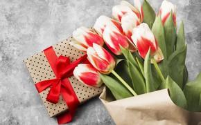 Картинка праздник, подарок, букет, поздравление, 8-марта