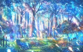 Картинка лес, кошка, девушка, фэнтези