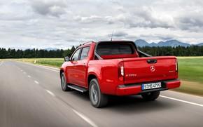 Картинка дорога, красный, Mercedes-Benz, сзади, пикап, 2018, X-Class