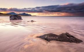 Картинка песок, море, волны, пляж, небо, облака, пейзаж, закат, горы, тучи, природа, камни, скалы, берег, побережье, …