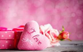 Картинка праздник, подарок, розы, букет, сердечко, День Святого Валентина
