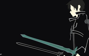 Картинка минимализм, парень, мечи, векторная графика, Sword Art Online, Кирито, Мастера Меча Онлайн