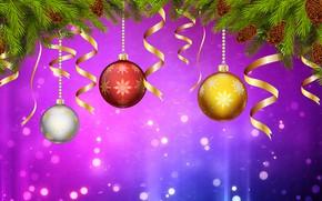 Картинка Минимализм, Рождество, Фон, Новый год, Праздник, Christmas, Art, Настроение, Ёлка, Шишки, New Year, Background, Новогодние ...
