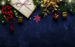 Картинка Новый Год, Рождество, подарки, Christmas, New Year, gift, decoration, Happy, Merry, fir tree, ветки ели