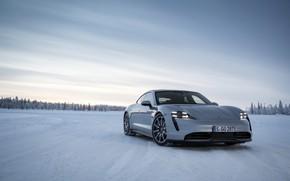 Картинка снег, серый, равнина, Porsche, 2020, Taycan, Taycan 4S