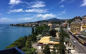 Картинка горы, здания, Швейцария, набережная, Lake Geneva, Montreux