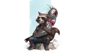 Картинка Fantasy, Art, Style, Illustration, Rocket, Bucky, Figure, Raccoon, Hand, Character, InHyuk Lee