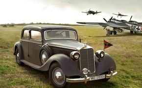 Картинка аэродром, Bf.109, Люфтваффе, Saloon, штабная машина, W142, Typ 320, He.177