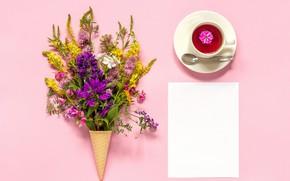 Картинка цветы, фон, чай, рожок, вафельный