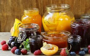 Картинка ягоды, банки, фрукты, джем, варенье