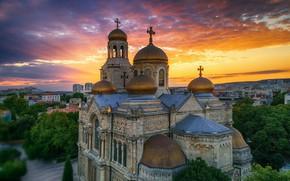 Картинка небо, закат, природа, высота, дома, церковь, собор, Bulgari, Болгария, Valentin Valkov, Varna