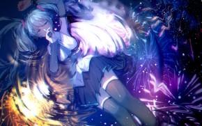 Картинка девушка, ночь, отражение, микрофон, фейерверк, Hatsune Miku, Vocaloid