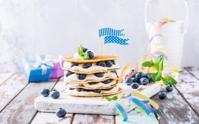 Картинка ягоды, черника, десерт, йогурт, блинный торт, Iryna Melnyk