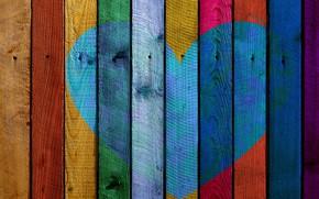 Картинка краски, сердце, дощечка