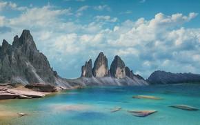 Картинка рендеринг, горы, берег, вершины, море, скалы