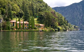 Картинка деревья, горы, озеро, вилла, Италия, Комо