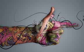 Картинка абстракция, фон, рука