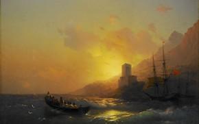 Картинка лодка, башня, картина, морской пейзаж, Иван Айвазовский, Закат над Великой Лаврой на Горе Афон, 1846
