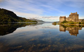 Картинка горы, озеро, замок, берег, Шотландия, водоем