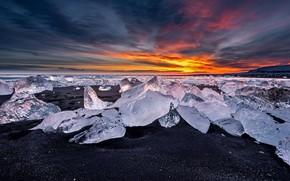 Картинка лёд, Исландия, алмазный пляж, озеро Йёкюльсаурлоун