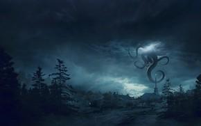 Картинка Ночь, Город, Лес, Монстр, Тучи, Щупальцы, Fantasy, Арт, Lovecraft, Science Fiction, Guillem H. Pongiluppi, Environments, …