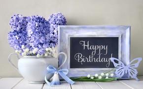 Картинка день рождения, букет, композиция, гиацинты, Anya Ivanova