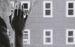 Картинка грусть, дождь, окно, руку