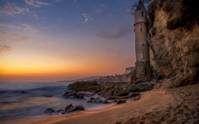 Картинка пляж, пейзаж, закат, природа, скала, камни, океан, берег, маяк, Калифорния, США, Victoria Beach
