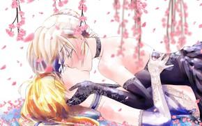 Картинка цветы, девушки, поцелуй, сакура, Fate / Grand Order, Судьба великая кампания