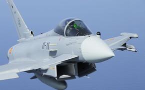 Картинка Истребитель, Пилот, Eurofighter Typhoon, ВВС Испании, ПГО, ИЛС