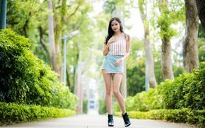 Картинка парк, аллея, красивая девушка, park, кустарник, очарование, beautiful girl, alley, bush, charm, летний день, summer …