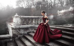 Картинка девушка, платье, лестница, Maks Kuzin