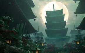 Картинка светлячки, фонари, кладбище, ступени, пагода, Japan, сумерки, снизу вверх, серое небо, полная луна, pagoda